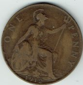 George V, One Penny 1912 H, F, STU345